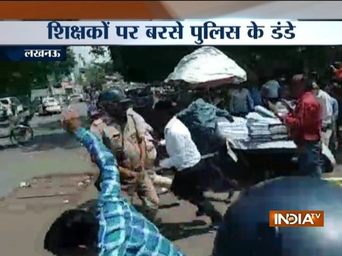 Uttar Pradesh Police lathicharges protesting teachers in Lucknow