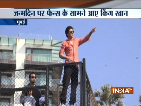 On 53rd birthday, King Shah Rukh Khan and son AbRam wave to fans from Mannat