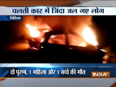 Vidisha: 4 people burnt to death as two cars catches fire after colliding with each other at NH-146