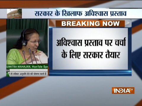 LS Speaker Sumitra Mahajan accepts the No Confidence Motion moved by opposition parties