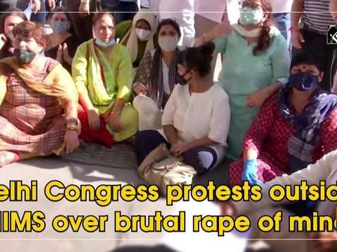 Delhi Congress protests outside AIIMS over brutal rape of minor