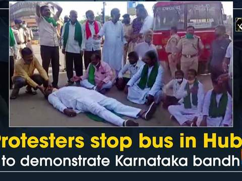 Protesters stop bus in Hubli to demonstrate Karnataka bandh