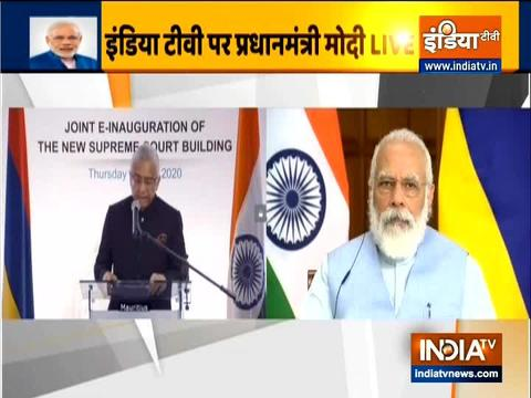 PM Modi and Mauritian PM Jugnauth jointly inaugurate the new SC building of Mauritius