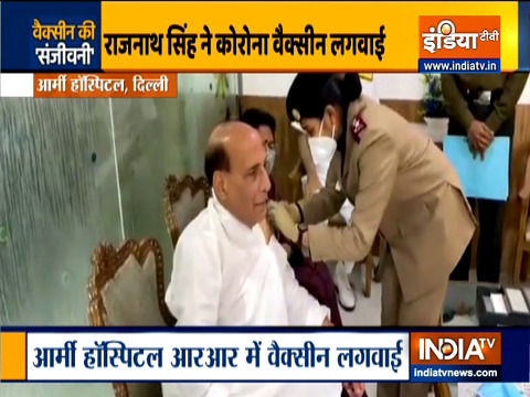 Defence Minister Rajnath Singh gets his first dose of COVID vaccine