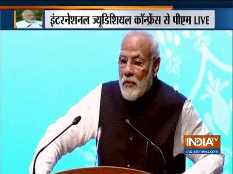 पीएम मोदी ने दिल्ली में अंतर्राष्ट्रीय न्यायिक सम्मेलन को संबोधित किया