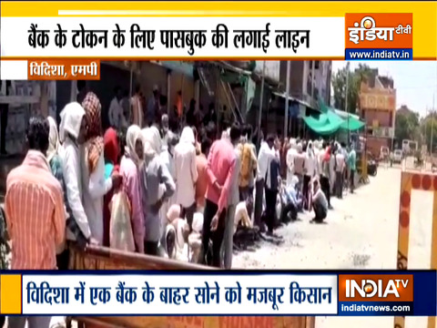 Madhya Pradesh: Farmers spend night in queue as bank reopens after days
