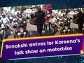 Sonakshi arrives for Kareena's talk show on motorbike