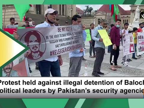 Protest held against illegal detention of Baloch political leaders by Pakistan's security agencies.