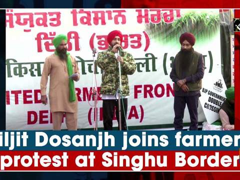 Diljit Dosanjh joins farmers' protest at Singhu Border