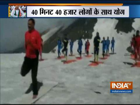 Indo-Tibetan Border Police (ITBP) personnel perform yoga at Rohtang Pass