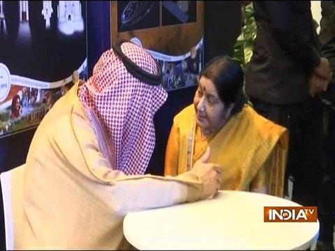 EAM Sushma Swaraj meets Saudi King Salman bin Abdulaziz, attends camel race