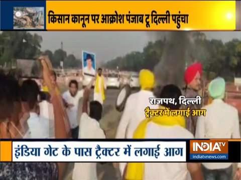 दिल्ली में किसान कानून के विरोध में आगजनी, 5 को हिरासत में लिया गया