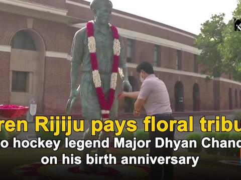 Kiren Rijiju pays floral tribute to hockey legend Major Dhyan Chand on his birth anniversary
