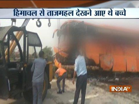 Agra: School bus turn turtle on Yamuna expressway after tyre burst, 1 dead many injured