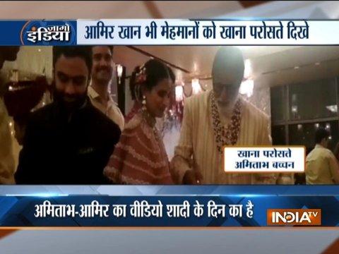 ईशा अंबानी की शादी में घराती बने बॉलीवुड के दो सितारे, मेहमानों को खाना परोसते दिखे आमिर व अमिताभ