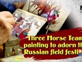 Three Horse Team painting to adorn the Russian field festival
