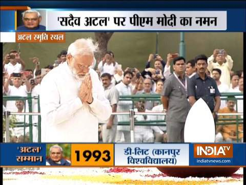 Atal Bihari Vajpayee first death anniversary: President Ram Nath Kovind & PM Modi pay tribute to BJP stalwart at Sadaiv Atal memorial