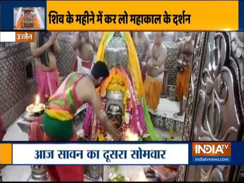 Prayers offered at Mahakaleshwar temple in Ujjain on the second Monday of 'sawan' month