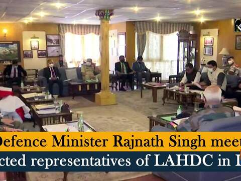 Defence Minister Rajnath Singh meets elected representatives of LAHDC in Leh