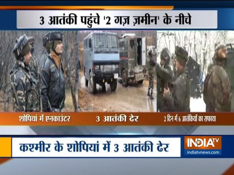 जम्मू-कश्मीर के शोपियां में सुरक्षा बलों के साथ मुठभेड़ में तीन आतंकवादी मारे गए