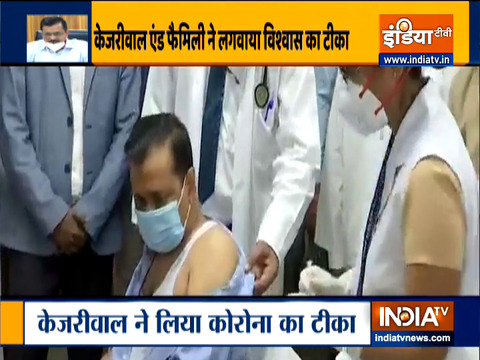 Delhi CM Arvind Kejriwal takes first dose of Covid-19 vaccine at LNJP hospital