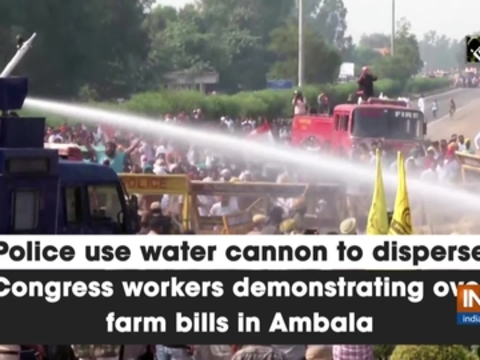 Police use water cannon to disperse Congress workers demonstrating over farm bills in Ambala