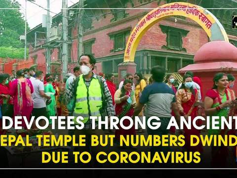 Devotees throng ancient Nepal temple but numbers dwindle due to coronavirus