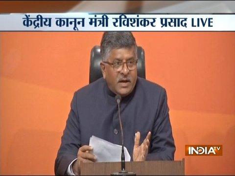 Ravi Shankar Prasad addresses media in reply to Congress president Rahul Gandhi