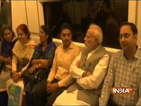 PM Modi interacts with metro commuters on his way to 26, Alipur Road