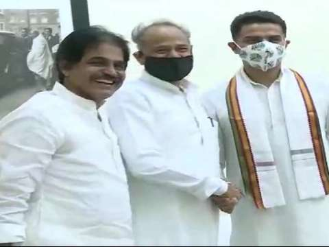 Rajasthan: Sachin Pilot meets Ashok Gehlot at his residence ahead of CLP meeting