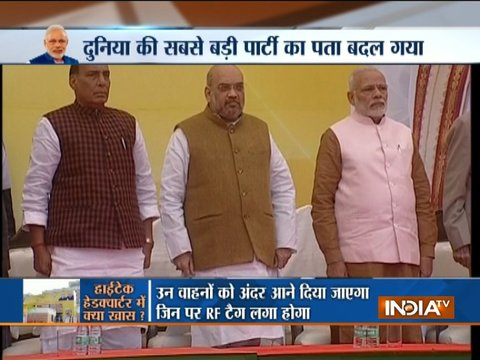 PM Modi and other leaders arrives for the inauguration of BJP's new headquarter in Delhi