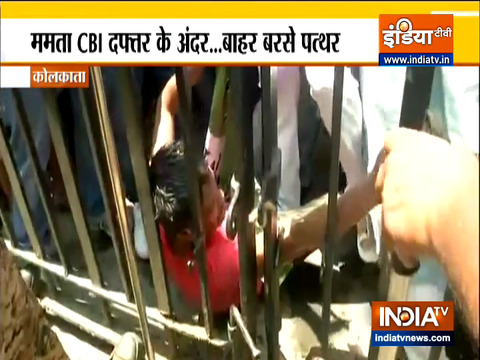 TMC workers hold protest outside CBI office with party flags and raised slogans against the CBI