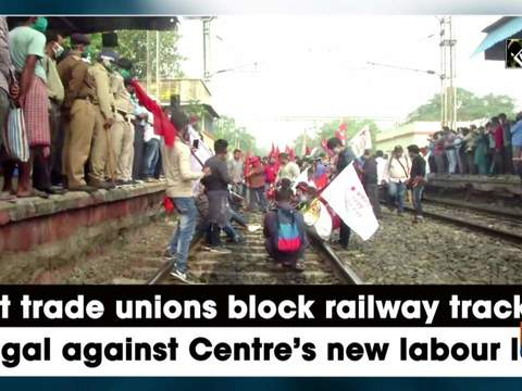 Left trade unions block railway track in Bengal against Centre's new labour laws