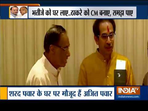 महाराष्ट्र: अजित पवार अपने चाचा शरद पवार से मिलने पहुंचे