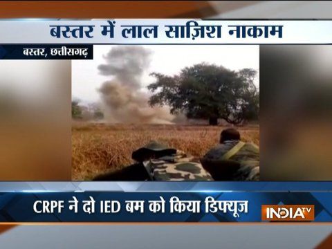Two IED bombs planted by Naxals near the Kasaram Nala in Bastar, diffused by CRPF
