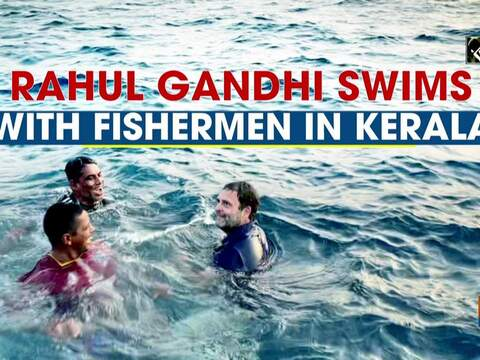 Watch: Rahul Gandhi swims with fishermen in Kerala
