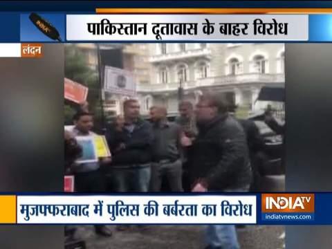 लंदन में मोजाहफराबाद में पुलिस की बर्बरता के खिलाफ विरोध प्रदर्शन