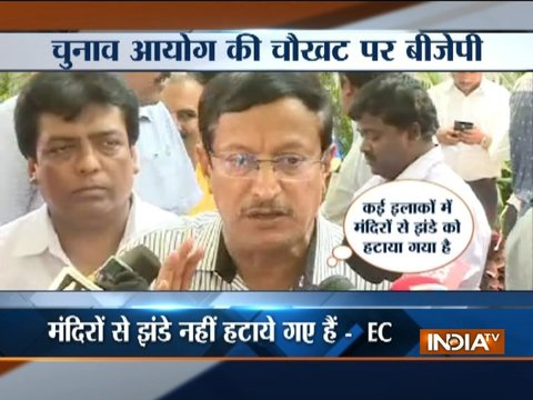 Nothing was removed from any Temple, as per law flags on the roads were cleaned: EC