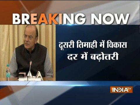 Finance Minister Arun Jaitley addresses the media on GDP growth figures