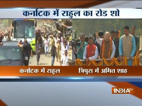 Rahul Gandhi holds roadshow in Koppal, Amit Shah in Tripura