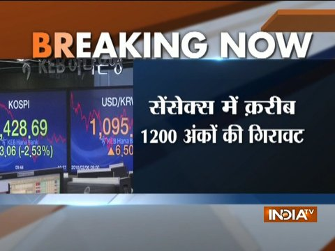 Sensex tanks over 1,000 points as Wall Street sees biggest decline since 2011, Nifty down 371 points