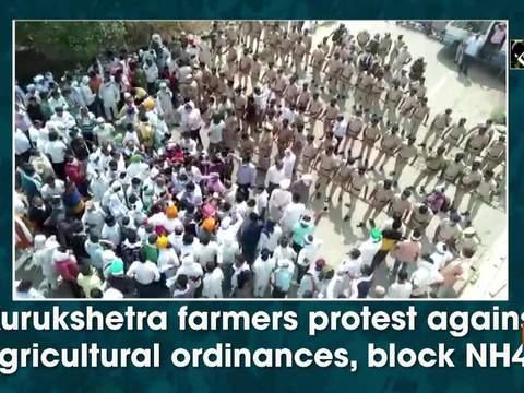 Kurukshetra farmers protest against agricultural ordinances, block NH44