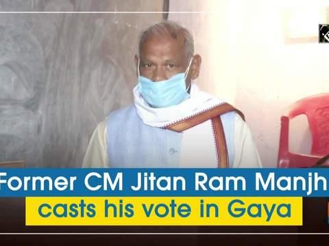 Former CM Jitan Ram Manjhi casts his vote in Gaya