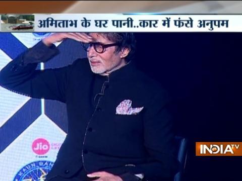 Amitabh Bachchan, Anupam Kher face trouble due to Mumbai rains