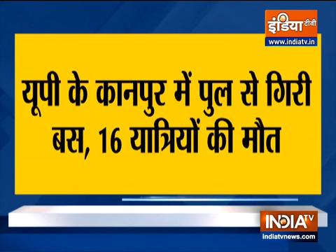 16 dead as bus falls off bridge in Kanpur
