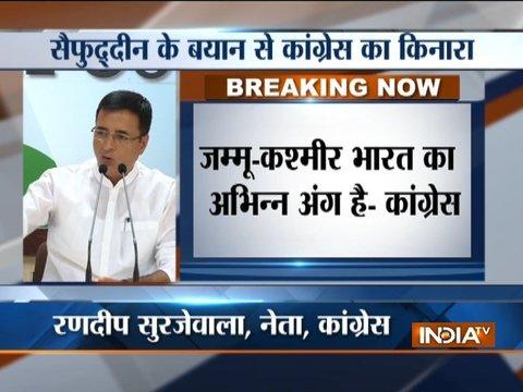 Congress distances itself with Saifuddin Soz's controversial remark on Kashmir