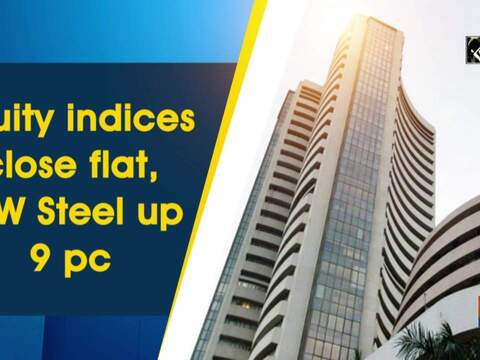 Equity indices close flat, JSW Steel up 9 pc
