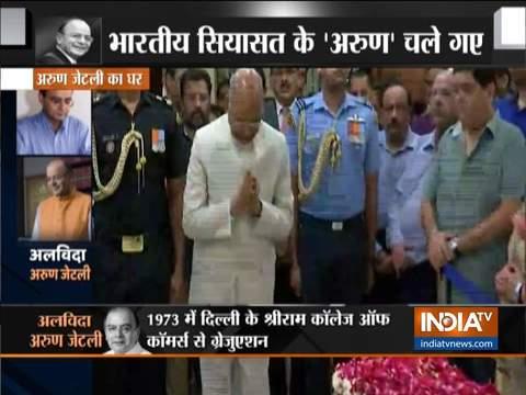 पूर्व केंद्रीय वित्त मंत्री अरुण जेटली जी को श्रद्धांजलि देने पहुंचे राष्ट्रपति राम नाथ कोविंद