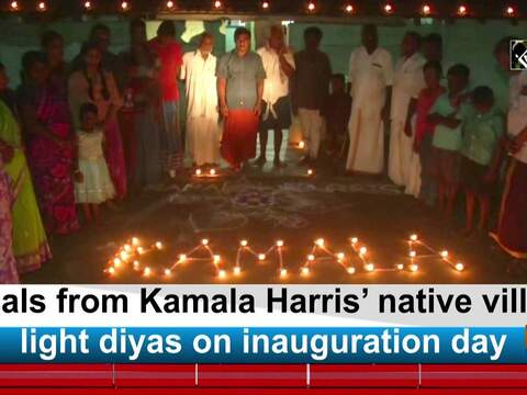 Locals from Kamala Harris' native village light diyas on inauguration day