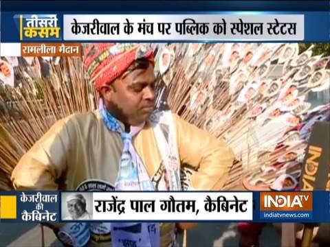 दिल्ली में अरविंद केजरीवाल के शपथ सम्मारोह से पहले समर्थकों और कार्यकर्ताओं में भारी उत्साह